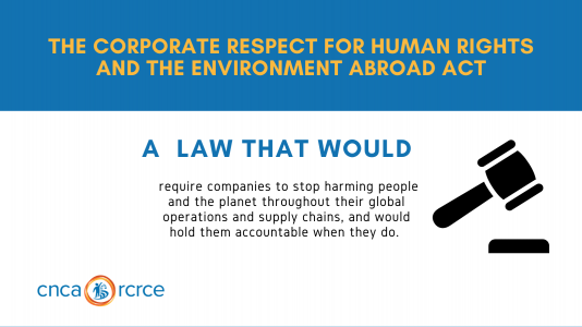 """A meme with a gavel icon and the words """"The Corporate Respect for Human Rights and the Environment Abroad Act: A law that would require companies to stop harming people and the planet throughout their global operations and supply chains, and would hold them accountable when they do. CNCA/RCRCE"""""""